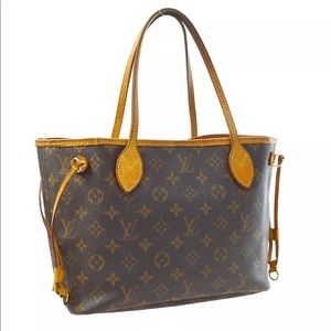 LOUIS VUITTON NEVERFULL PM HAND TOTE BAG CANVAS